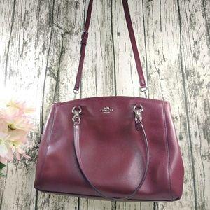 Coach burgundy Crossgrain Leather Christie purse